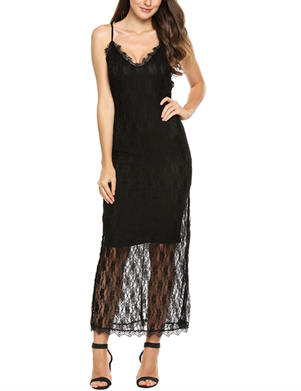a65cfc9060 Get Quotations · ANGVNS Womens Lace Trim Spaghetti Strap V Neck Backless  Bandage Maxi Cami Dress