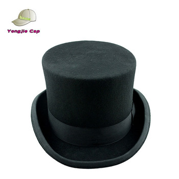Fashion Party Custom High Quality Magician Elegante Men's Black Top Hat - 100% Wool