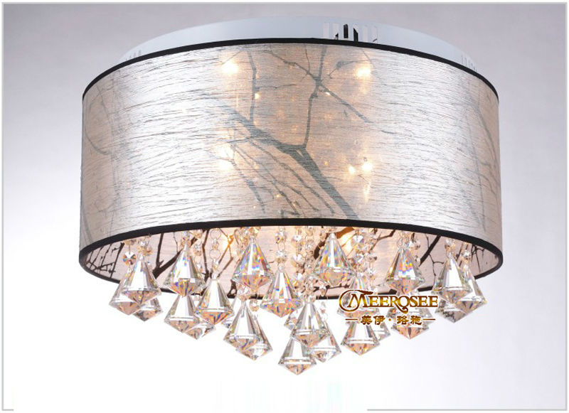 Modern Color Grey Shade Crystal Ceiling Lights Md8620-l6