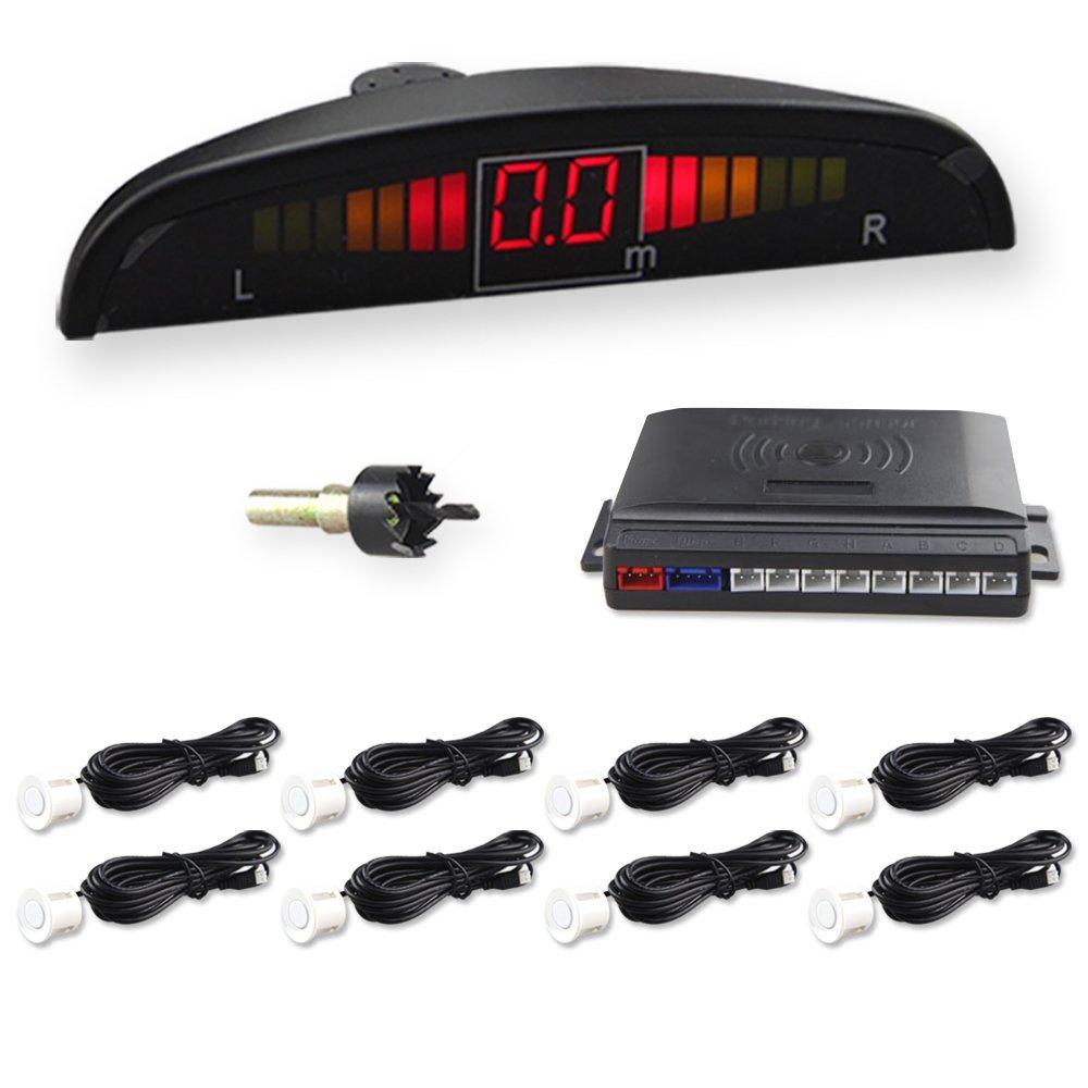 CAR ROVER 12V Auto Parking Reversing Aid System 8 Sensors With LED Display Parking Sensor White Color