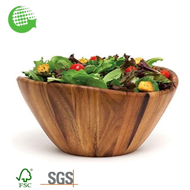 Custom Eco-friendly Natural Wholesale Slant Salas Christmas Salad Bowl