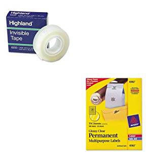KITAVE6582MMM6200341296 - Value Kit - Avery Permanent Clear Round ID Labels for Laser/Inkjet Printers (AVE6582) and Highland Invisible Permanent Mending Tape (MMM6200341296)