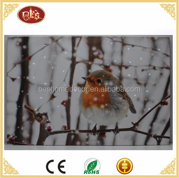 LED fiber optic canvas art Robin Bird Winter Snow Scene Wall Canvas Picture