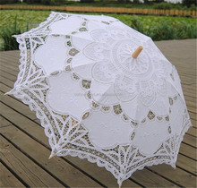 Antiqued Wedding Decoration Embroidered Battenburg Lace Umbrella Parasols