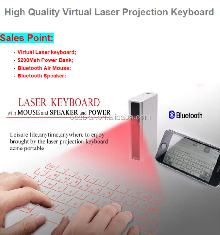 laser projection keyboard with 5200 mAh power bank for tablet, phone and laptop