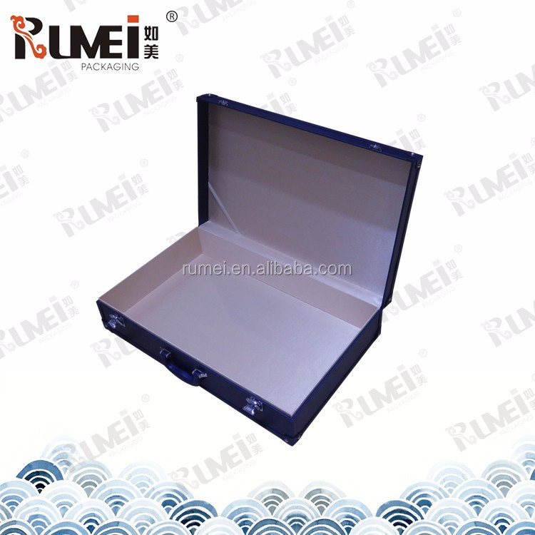 Customized blue rectangle With handle folded faux leather storage box