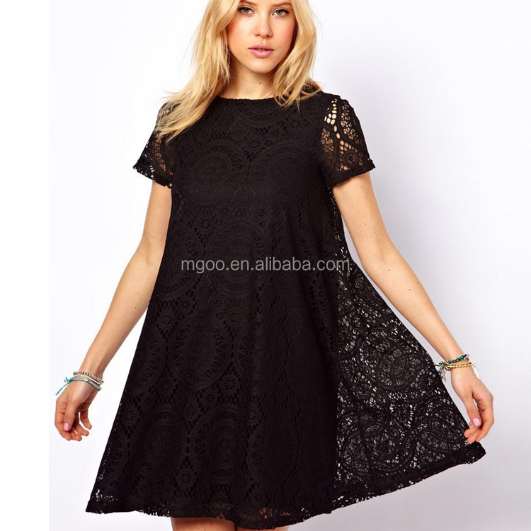 Top Selling Europe and America Loose Short-sleeved Lace Dress For Women White/Black/Green/Red Summer Dress Online <strong>Trading</strong> 2016