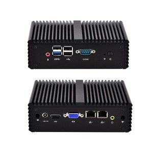 Fanless Baytrail J1900 Quad Core Desktop Micro Computer Server 4GB Ram 128G SSD 2 Ethernet Dual Nic Mini PC