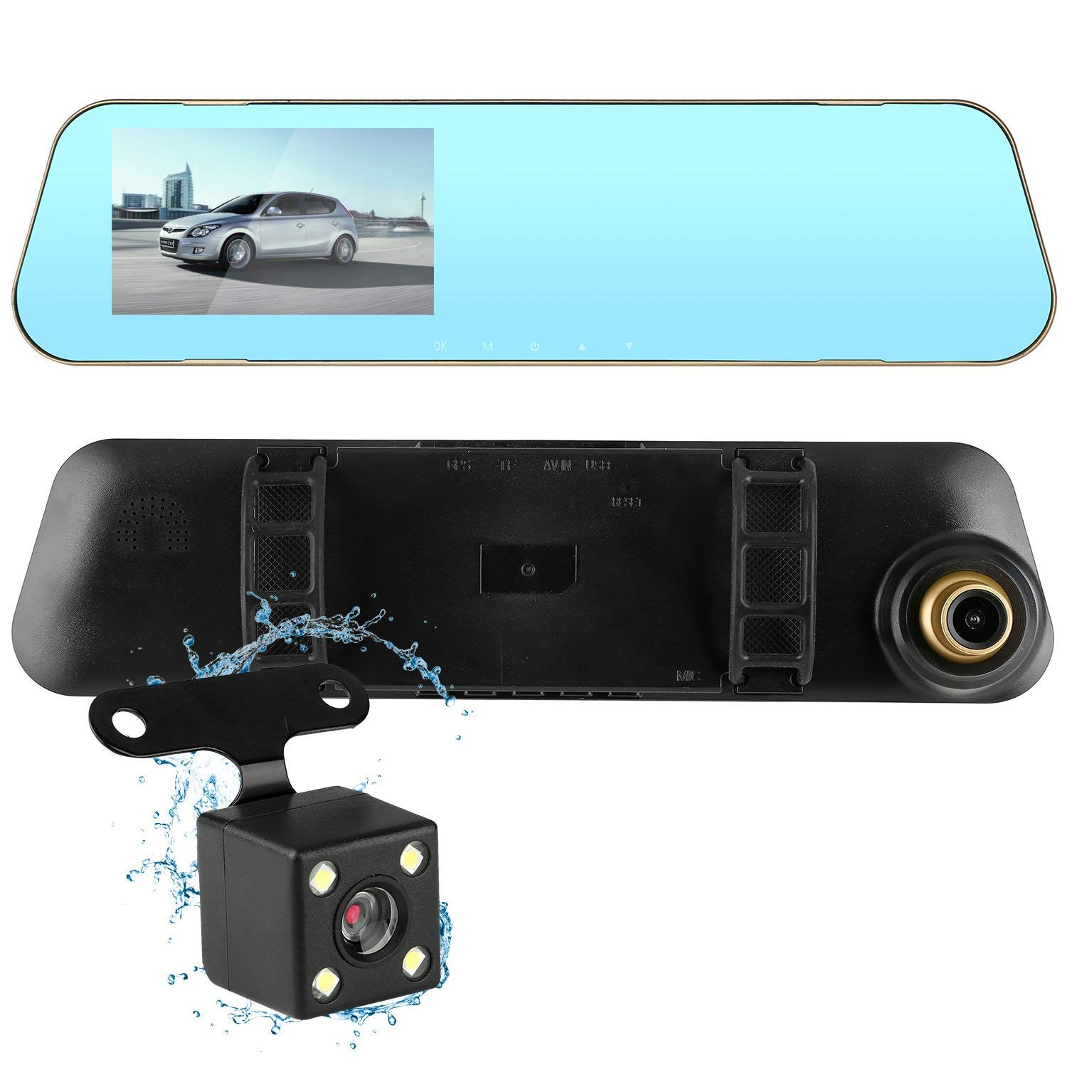 Emmako Dash Cam System Compatible SUV Truck Camper Car Backup Camera Front and Rear 1080P Full HD Dual Lens Video Recorder With G-Sensor Motion Detection Loop Recording Parking Mode 4.3 Inch Rear View