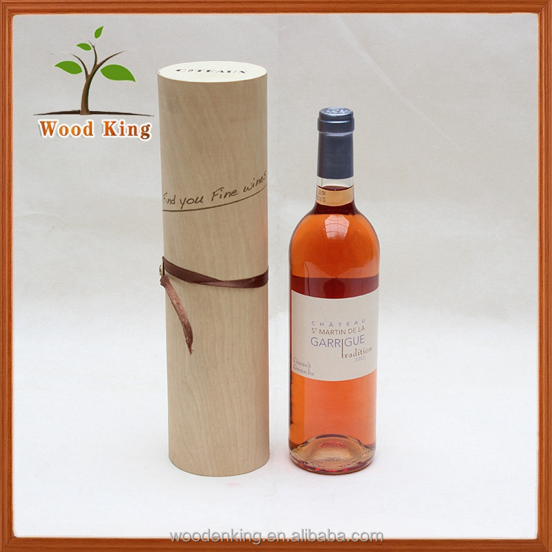 Wholesale Custom Environmental Protection Circular Natural Birch Bark Packaging Gift Wooden Round Tube Wine Gift Box