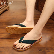 China wholesale men bamboo sandals men straw and bamboo flip flops