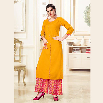 67b89c9269 New Designer Rayon Fancy Kurtis With Printed Palazzo Wholesale Collection