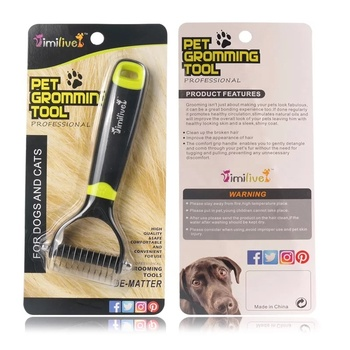 Double Sided Con Passe-partout di Capelli In Modo Efficiente Rimozione Grovigli Nodo Dematting Deshedding Rake Pet Gatto Cane Pennello
