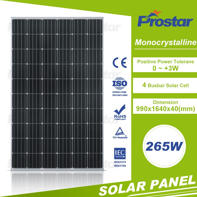 Higher quality multicrystalline silicon 265w solar module 60 cells