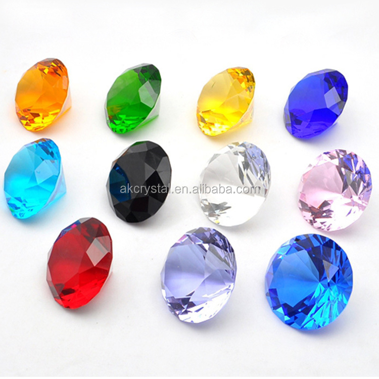 Best popular colorful round shape decorative crystal diamond glass