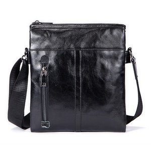 Wholesale sling cross body zipper real leather mens shoulder bag crossbody handmade small zipping man genuine leather bag