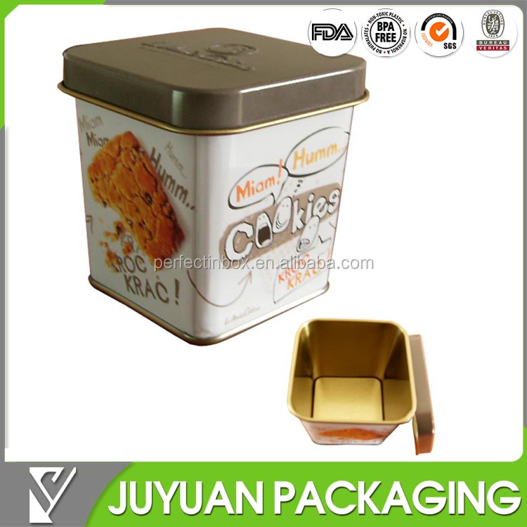 food grade tin container, airtight cookie tin can, tin can for cookie