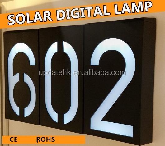 Newest Solar Powered 6 LED Front Door Number Lights Number Plate Lamp  Weather Resistant Door Plate
