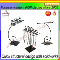 countertop black metal wire necklace optical display stand earring holders