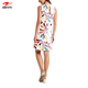 New Women Print Dress Linen Blend Daisy Print Tunic Dress