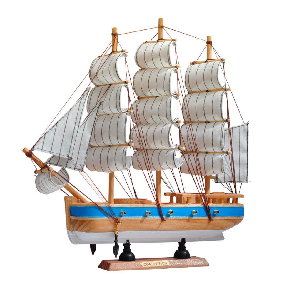 High Quality Wooden Sailboat Model Handmade Wood Crafts Mediterranean Style Home Decoration Ornaments Holiday Gifts