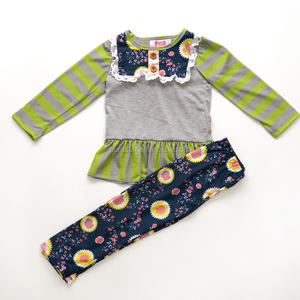 Wholesale baby girls spring outfits kids clothes children's boutique ruffle clothing