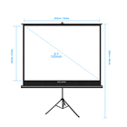 OWLENZ 100 inch Ratio 4:3 Portable foldable Tripod Screen Matte White Large Size Outdoor Projection Screen 203 x152cm