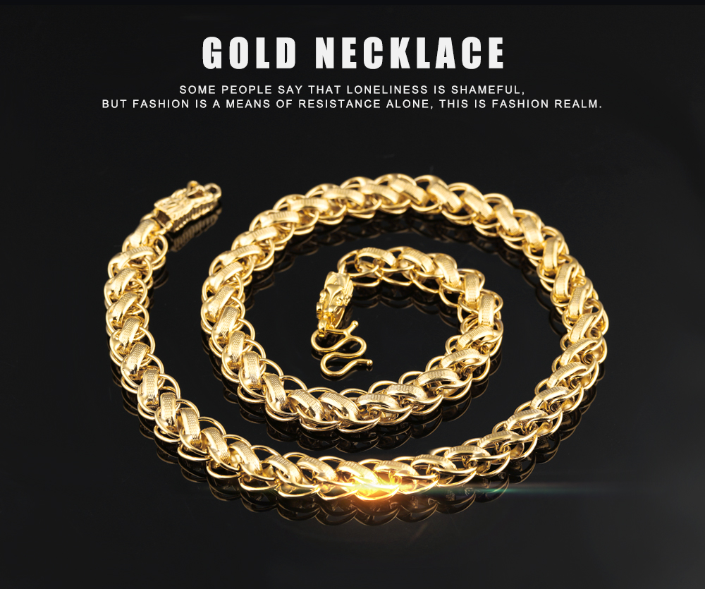 piece necklace store style yellow dragon hip filled gold solid chains with mens on accessories product hop chain online
