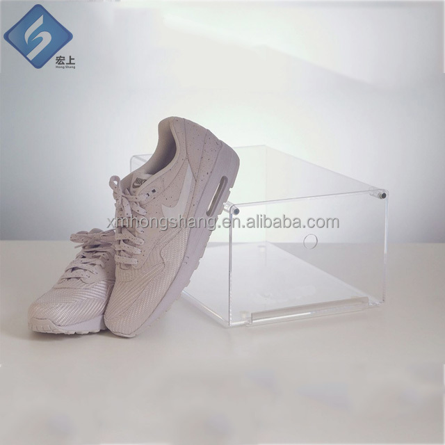 wholesale acrylic drop front shoe box with magnetic door