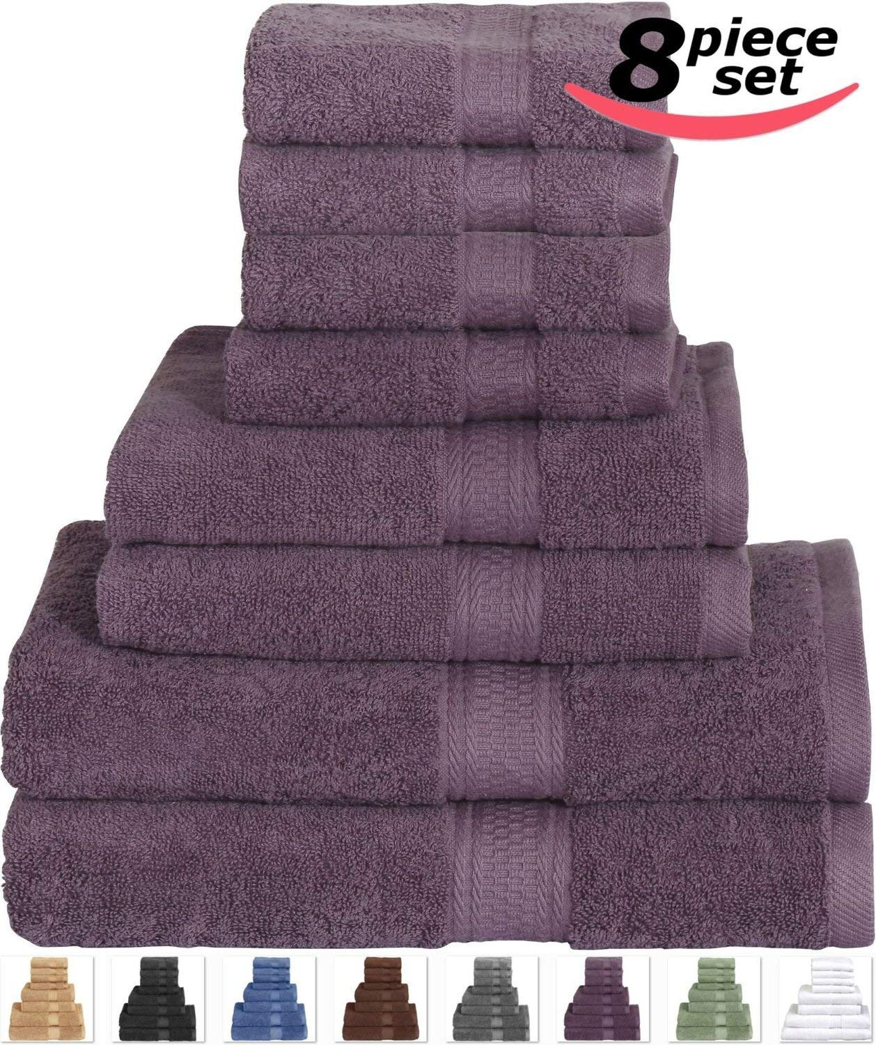 Plum Bath Towel Set 8-Piece Includes 2 Bath Towels, 2 Hand Towels, and 4 Washcloths 100% cotton Order Now! With E-book Gift@