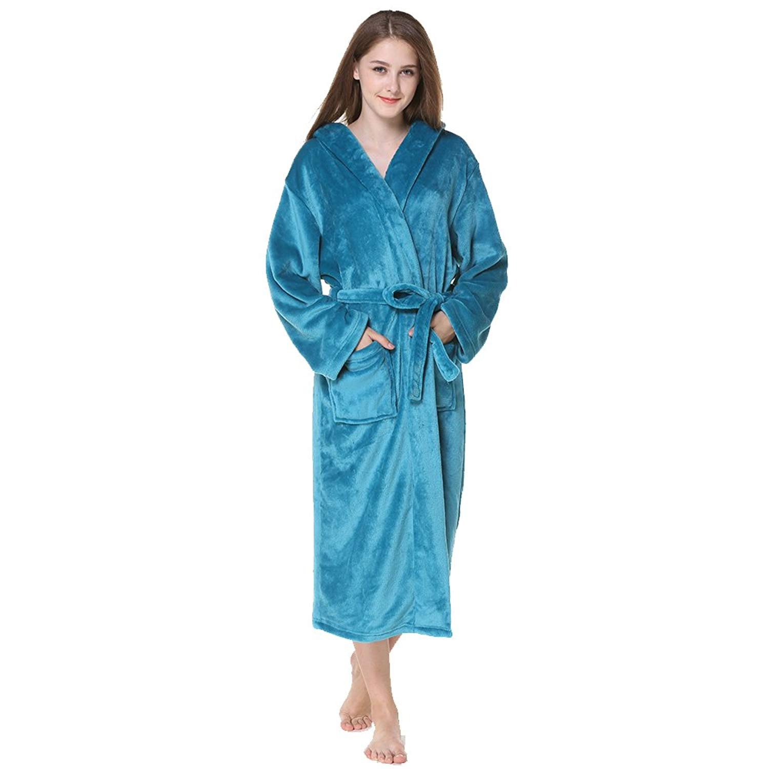 f78ecaa7c7 Get Quotations · BabYoung Women s Flannel Bathrobes Casual Thicken with  Hooded Long Sleeves Plus Size Robes Women Nightgown Winter