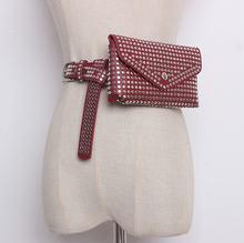 DIINOVIVO Роскошный дизайнерский поясной рюкзак с заклепками, маленькая Женская поясная сумка для телефона, поясная сумка в стиле панк, кошелек ...(Китай)