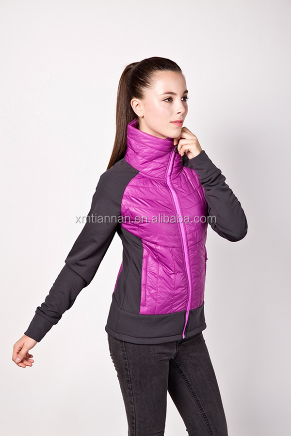 Lightweight Polyester Padded Womens Jacket Purple Quilted Nylon Jacket фото