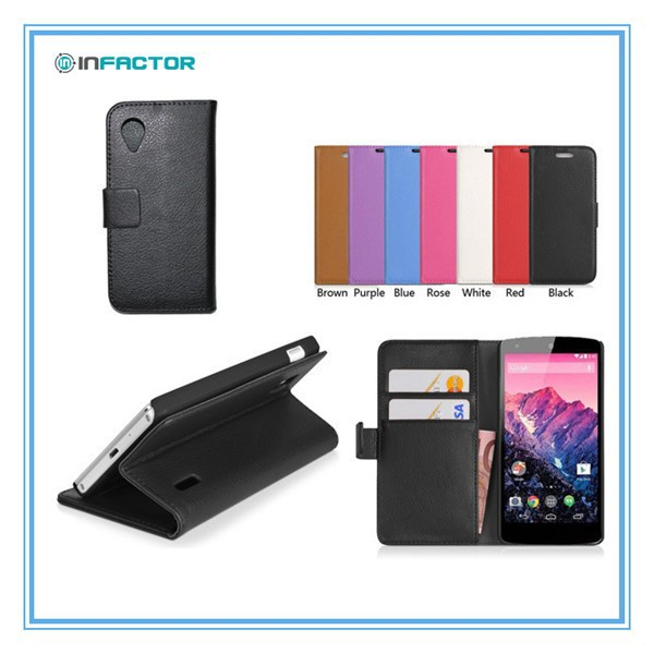 For LG Google Nexus 5 Leather Case, for Google Nexus 5 Phone Leather Flip Cover