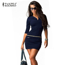 Zanzea 2016 Summer Women Dress V-neck Half Sleeve Package Hip Sexy Vestidos Bodycon Bandage Office Mini Dresses Plus 7 Size