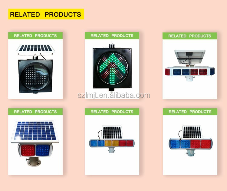 New arrival yellow flashing aluminum solar warning traffic light LED traffic light