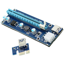 Wholesale 006C PCIe PCI-E PCI Express Riser Card 1x to 16x USB 3.0 Cable Adapter SATA to 4Pin IDE Molex 6 pin for Bitcoin Mining