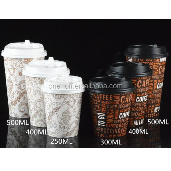 Disposable logo printing coffee paper cup for hot drink
