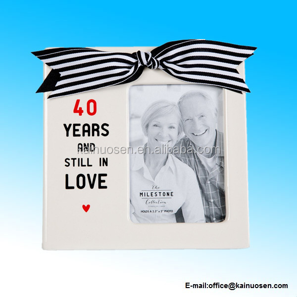 40 Years and still in Love Ceramic 3.5x5 Picture Frame with Heart and Bow Anniversary Gift