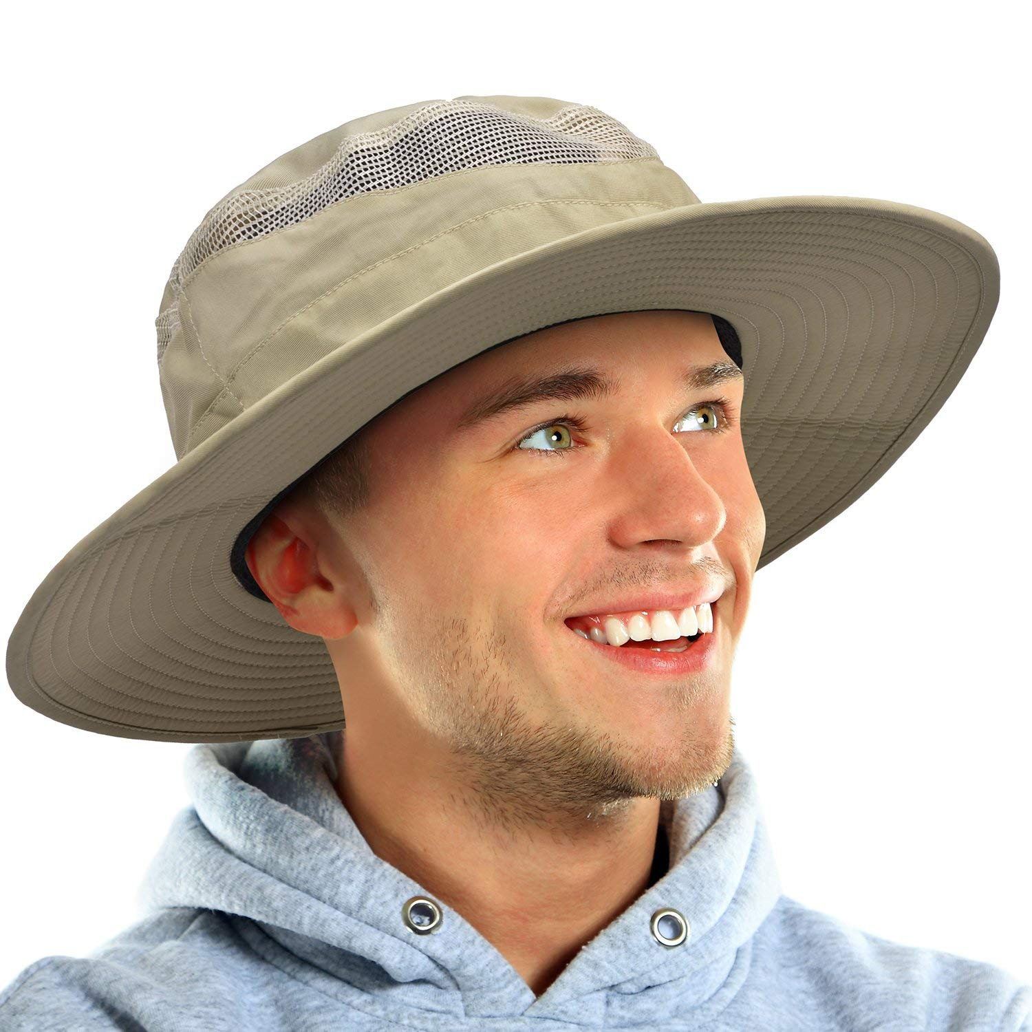 55ad6ab44fa Get Quotations · Safari Hat for Men Wide Brim Fishing Hat Boonie Cap Water  Repel for Boating Hiking Beach