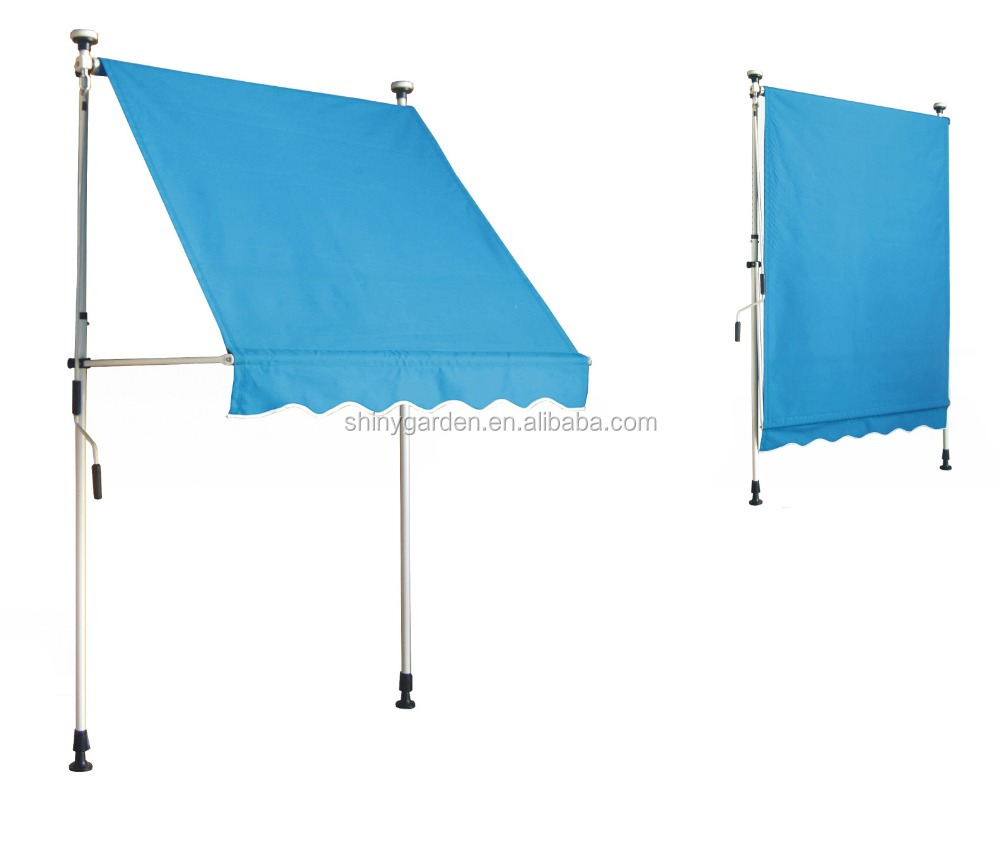 Manual operated adjustable retractable adjustable awning with adjustable height, balcony awning