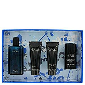 Cool Water by Davidoff -- Gift Set - 4.2 oz Eau De Toilette Spray + 2.5 oz After Shave Balm + 2.5 oz Shower Gel + 2.4 oz Deodorant Stick for Men