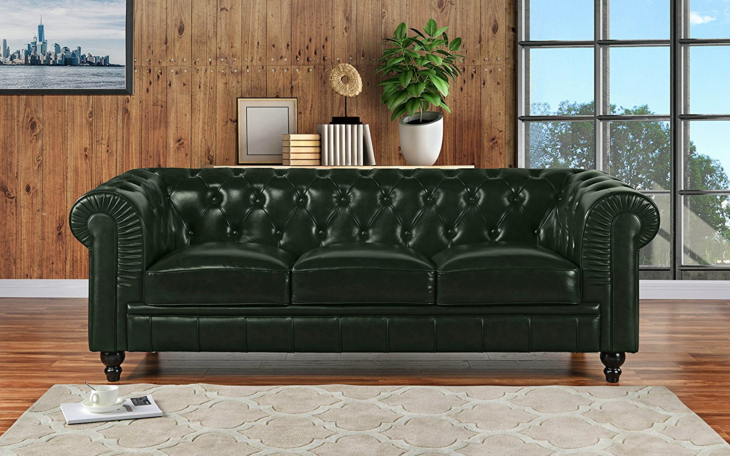 Get Quotations Clic Scroll Arm Real Leather Chesterfield Sofa Green