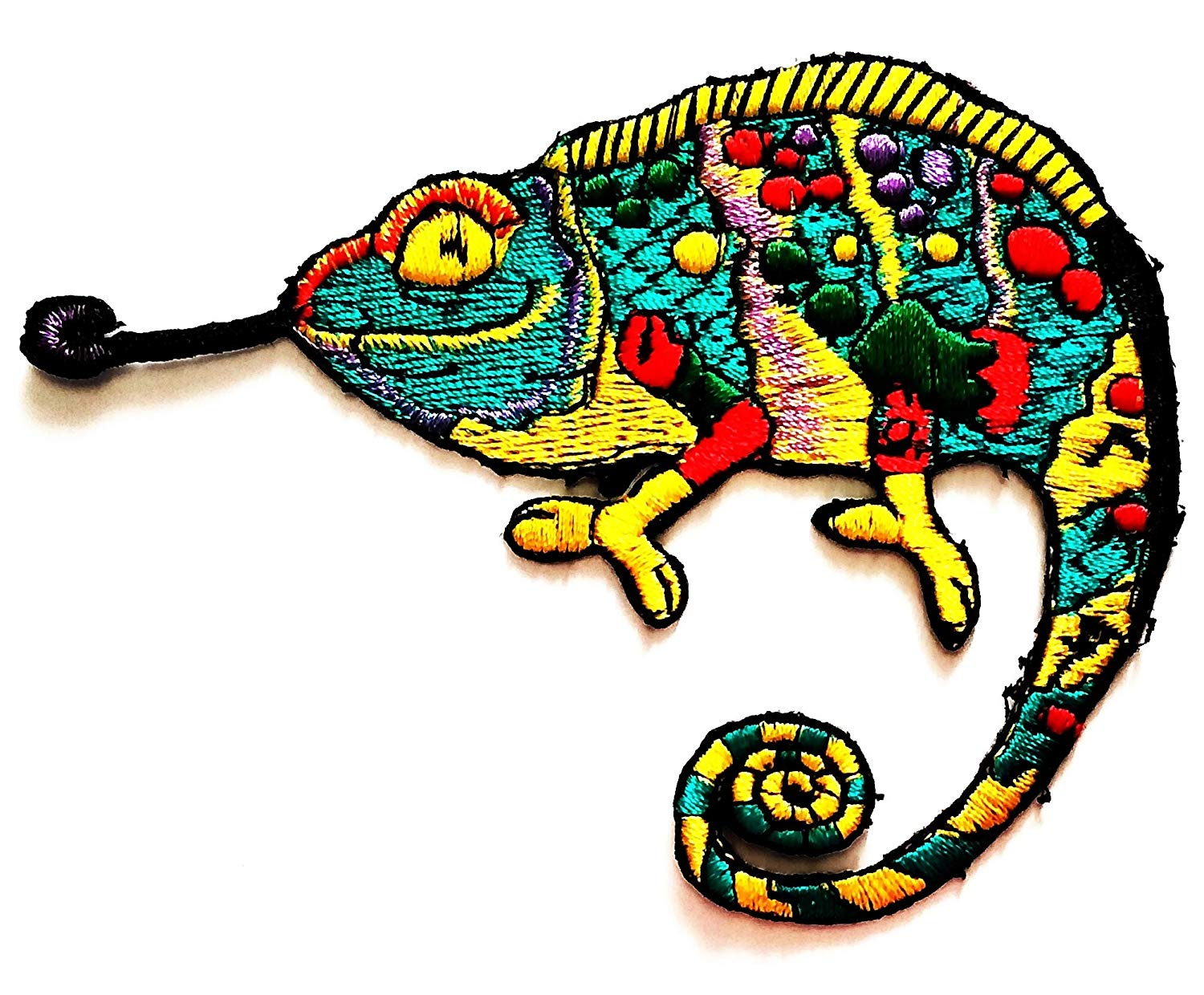 Nipitshop Patches Black Lizard Patch Chameleon Amazing Animal Patches Iron On Cartoon Apparel for Clothes Kids Stickers DIY Cheap Embroidered Patches for Sewing Kids Clothing