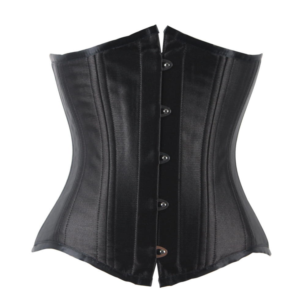 cd5951ebf Get Quotations · Plus Size 2 Hooks 24 Steel Boned Waist Training Corsets  and Bustiers Black Corset Underbust Gothic
