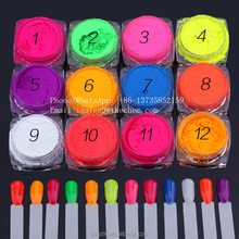 Nail art 12 color series fluorescent pigments/UV base coat for nail art