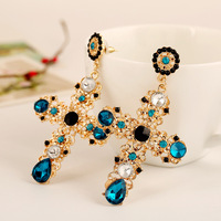 New crystal fashion rhinestone cross shape jewellery earrings
