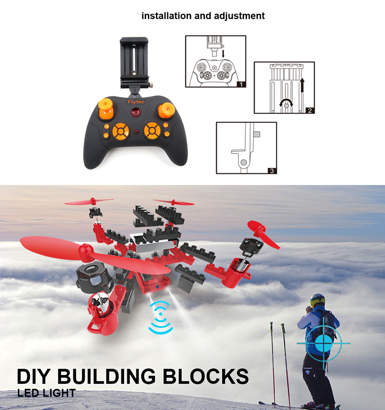 3. T11S_Red_WIFI_FPV_DIY_Building_Blocks_Drone_with_0.3MP_Camera_RC_Drone