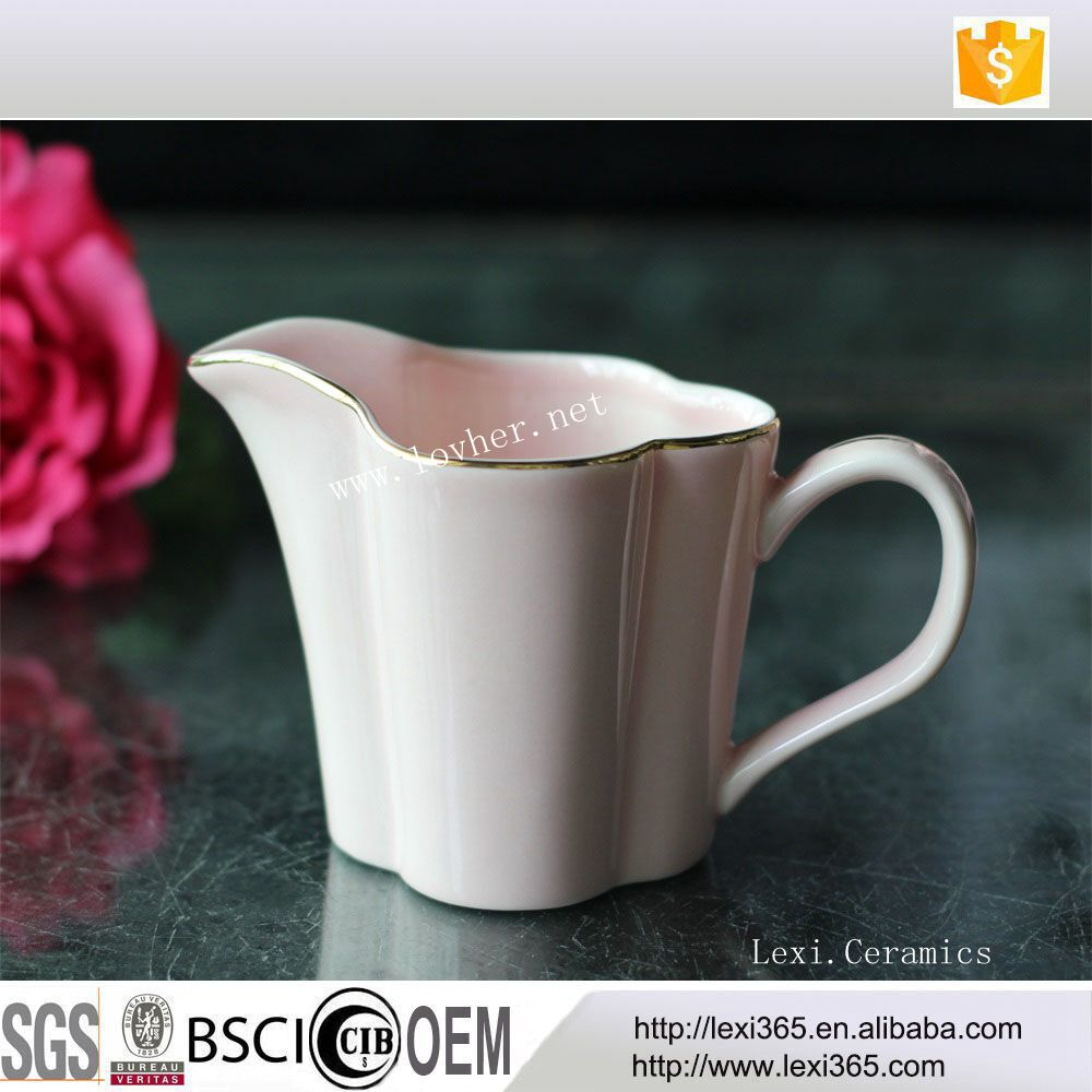 Latest Design Porcelain Milk Jug Ceramic Milk Pot Lucky Flower Shape With Gold Rim For Home,Hotel,Afternoon Tea,Coffee Shop