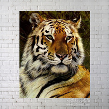 Feral tiger oil painting